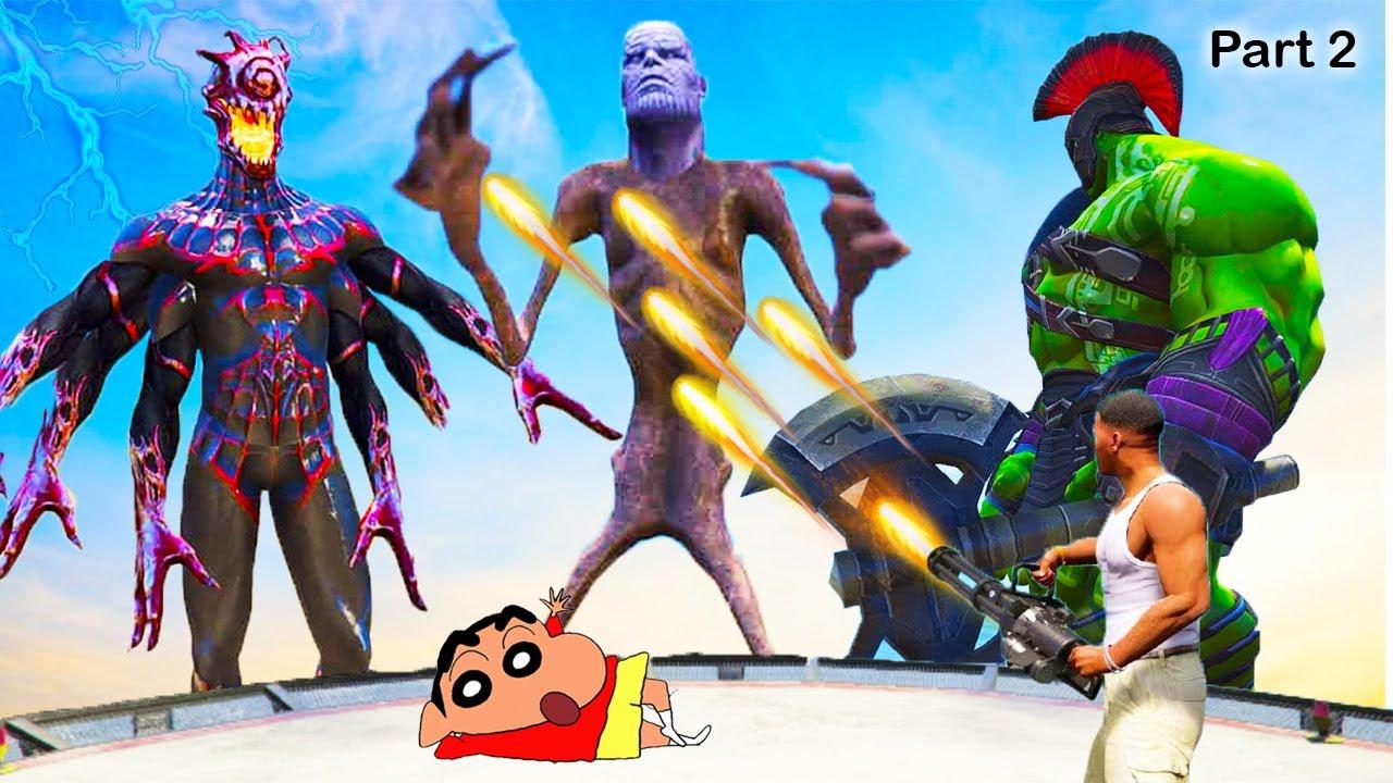 FRANKLIN Destroy WORLD in GTA 5 || SHINCHAN stop it with THANOS, EVIL SPIDERMAN