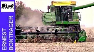 Mennonites and John Deere Combining Soybeans