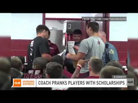 Student's inspirational moment given a scholarship by his coach! Warning: Tearjerker
