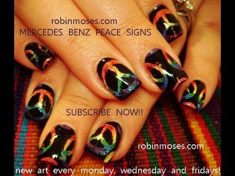 Rainbow Peace Sign Nail Art Youtube