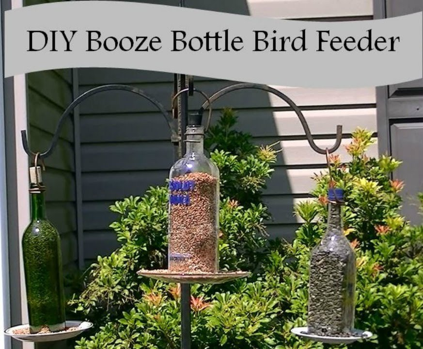 how to make a bird feeder from a liquor bottle youtube. Black Bedroom Furniture Sets. Home Design Ideas
