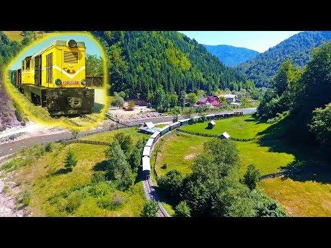 """[2xMC Drone] """"Diesel-ul"""" L45H 0036 urcând cu un tren pe Valea Vaserului, Vișeu, Maramureș (08 2017)"""
