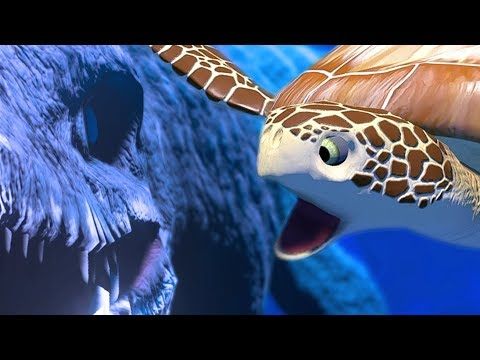 SEA TURTLE vs GIANT SEA REPTILE MOSASAURUS - Feed and Grow Fish - Part 54 | Pungence