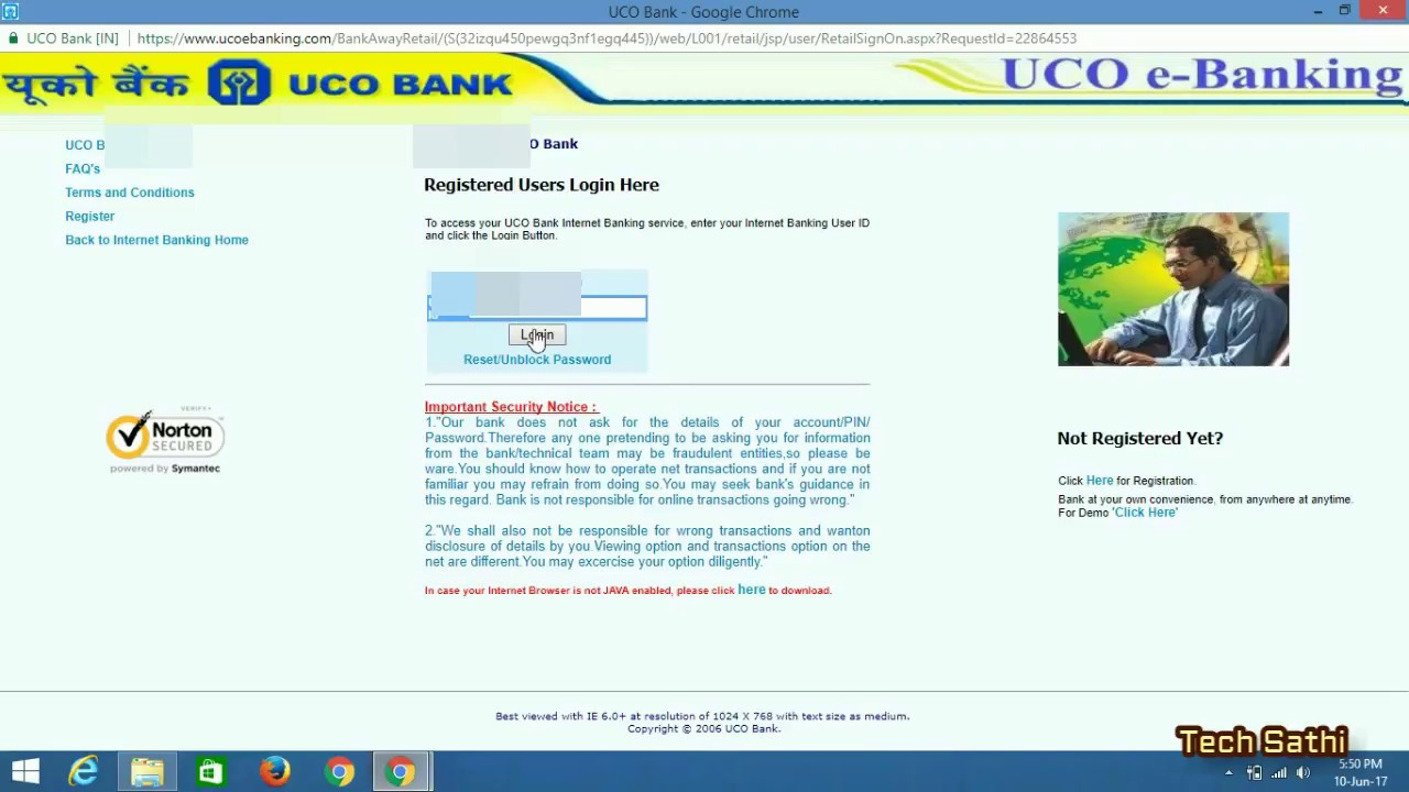 uco bank e banking online registration