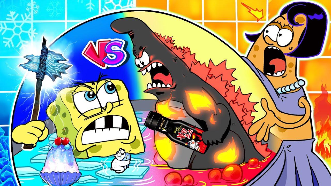 HOT VS COLD Challenge! Twins Pregnant Mukbang🔥🧊 Spongebob vs Patrick Animation | SLIME CAT