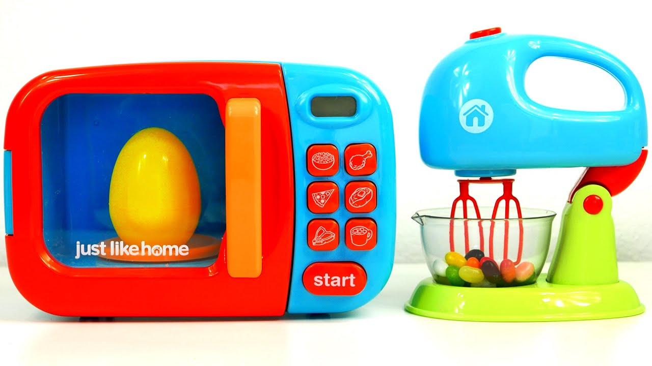 Microwave and Mixer Kitchen Appliance Toy for Kids Just Like Home ...