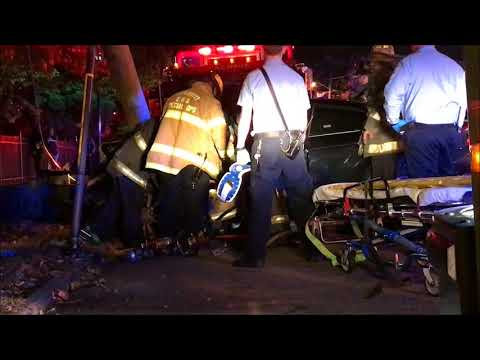 ( READ COMPLETE DESCRIPTION ) - CAR VERSUS UTILITY POLE WITH EXTRICATION IN NEWARK, NEW JERSEY.