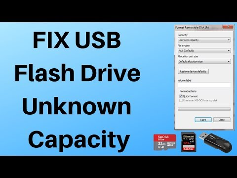 FIX USB Flash Drive Unknown Capacity