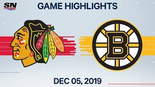 NHL Highlights | Blackhawks vs Bruins - Dec. 5, 2019