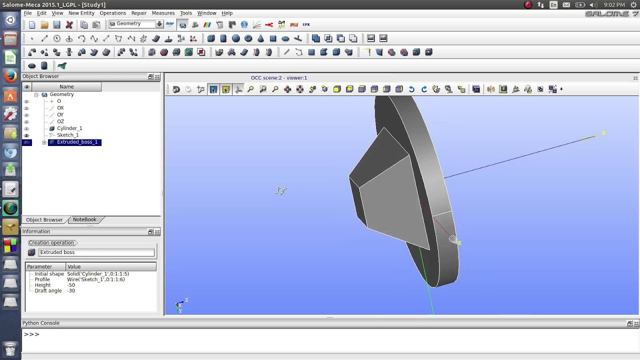Lesson 2 - Basic of Salome-Platform  Boss and Cut Extrusion  by calculix09