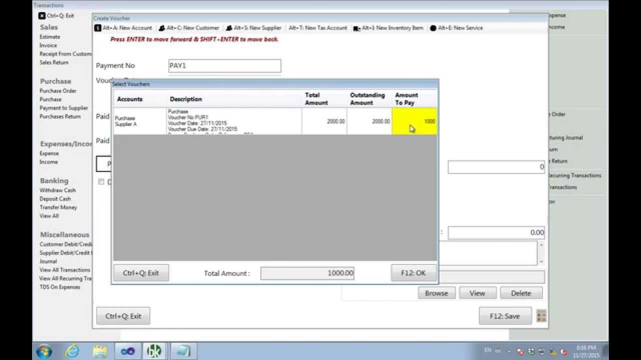 How to create purchase order, purchase voucher, purchase return and ...