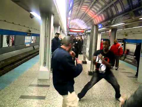 Man gets whooped on blue line in Chicago