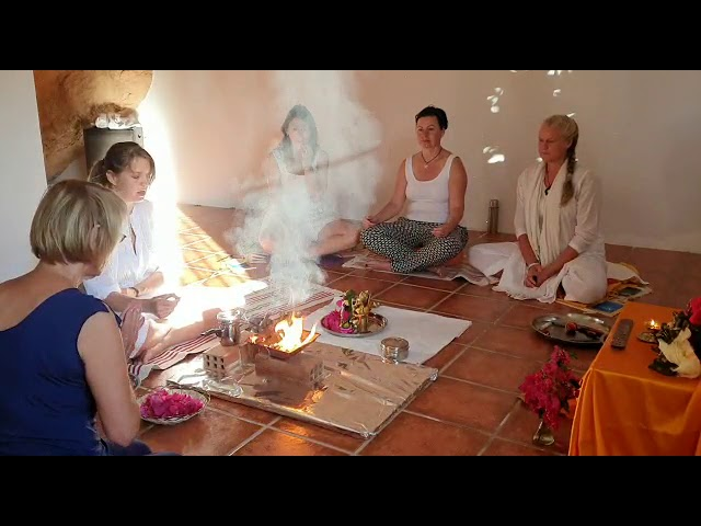 A peace ceremony in Casa Santosha in Spain, with the chanting of the peace mantra Om Namo Narayanaya
