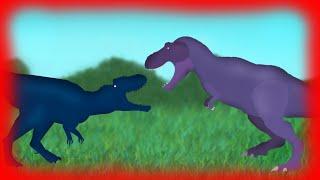 Dinosaurs Cartoons Battles: Tyrannosaurus Rex vs Tyrannotitan. Динозавры мультфильм