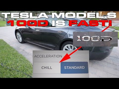 How fast is the updated Tesla Model S 100D from 0-60 MPH and what is Chill Mode?