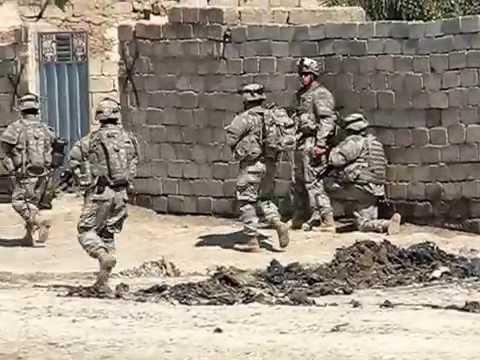 Raid in As Sadah, Diyala Iraq 2007 (With PSYOP humvee playing AC/DC)