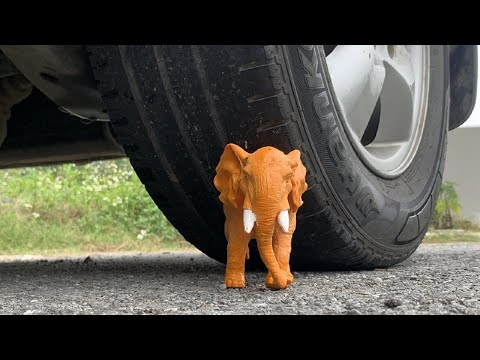Crushing Crunchy & Soft Things by Car! EXPERIMENT: ANIMALS LION, ELEPHANT TOYS, COCA COLA VS CAR
