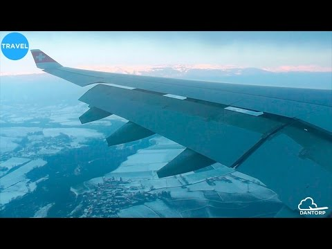 SWISS A330-300 STUNNING Sunrise Approach and Landing in Geneva over Mountains!