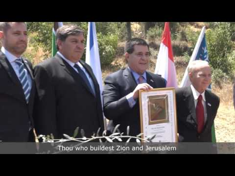 President of Paraguay Plants Olive Tree in Jerusalem's Grove of Nations