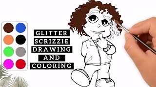 Color Video Tutorial | Glitter Scrizzie Drawing and Coloring ~ How to Draw for Kids