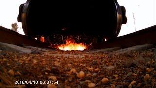 Loram rail grinder under train view!!!