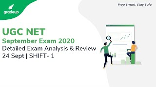 UGC NET 2020 Paper 1 Analysis(24th Sept,1st Shift)|UGC NET Question paper, changes/expected cut off