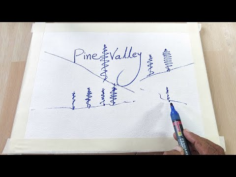 Acrylic painting tutorial of Pine Valley | landscape |painting | beginners | Satisfying | Relaxing
