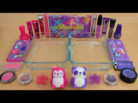 Pink Vs Purple - Mixing Makeup Eyeshadow Into Slime ASMR 281 Satisfying Slime Video