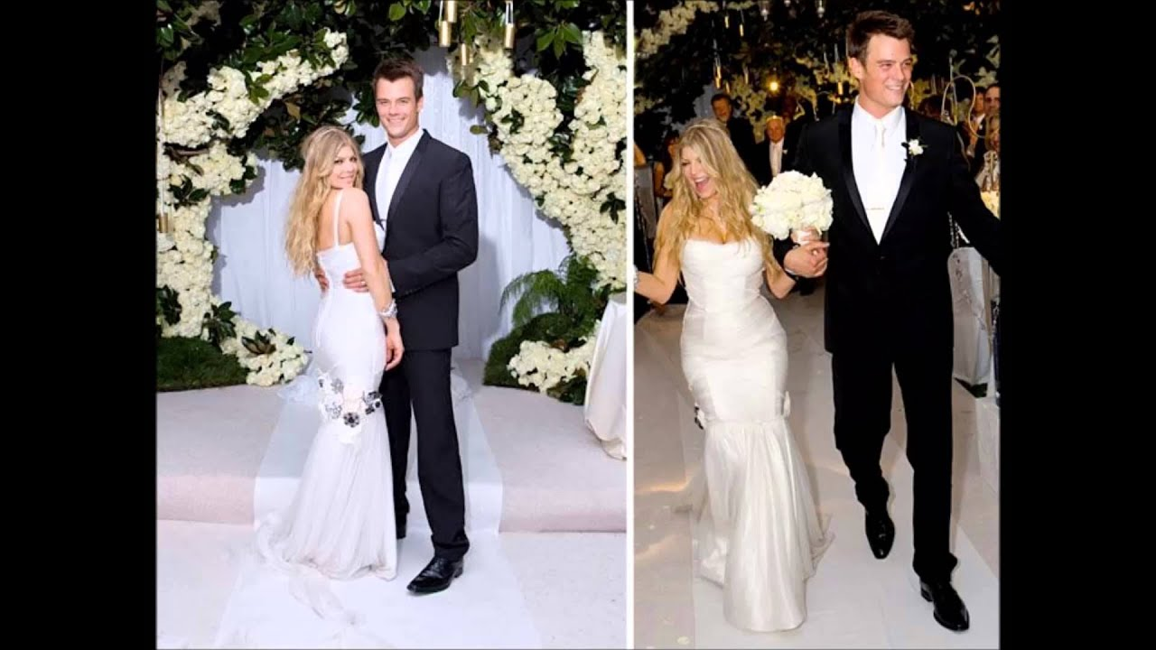 Former husband and wife: Josh Duhamel and Fergie at their flower-studded wedding ceremony