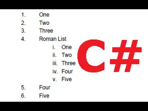 C# Tutorial 43: iTextSharp : How to create Lists with iTextSharp PDF file  in C#