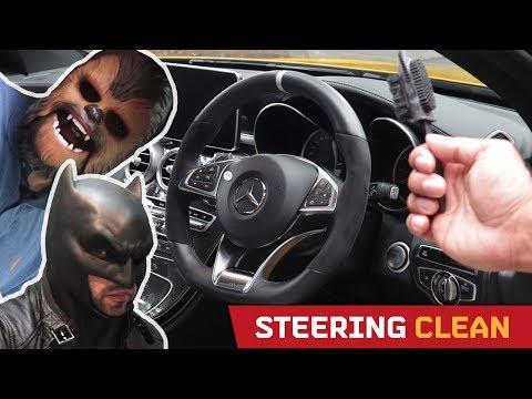 ALCANTARA & DINAMICA wheel/trim Cleaning! Feat. Batman and Chewie!