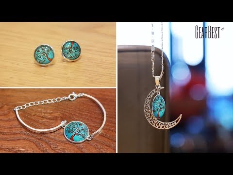 Glass Cabochon Necklace Earrings Bangle Set - GearBest.com
