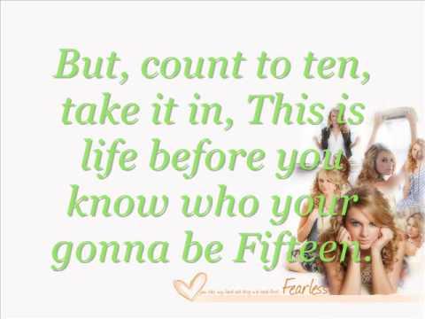 Taylor Swift Fifteen Lyrics