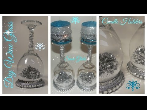 DIY - WINE GLASS SNOW GLOBE CANDLE HOLDER / DOLLAR TREE / CH