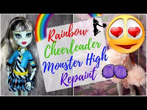 Cheerleader Doll with Unicorn Makeup - Monster High Doll Repaint / Custom Frankie Stein Faceup