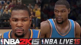 NBA Live 15 vs. NBA 2k15 - Oklahoma City Thunder Player Face Comparisons featuring Kevin Durant