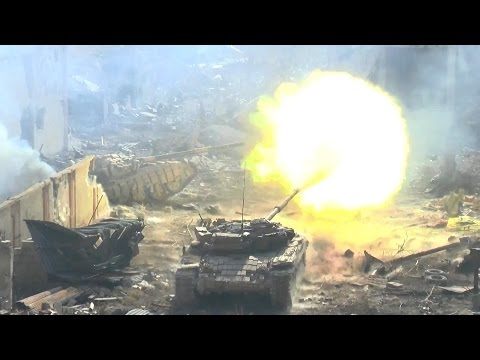 Syria War - T-72 Tanks with GoPro in Heavy Urban Fighting During Battle of Jobar