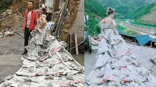 Cưới anh thợ hồ không tiền mua váy cô dâu biến bao xi măng thành váy cưới