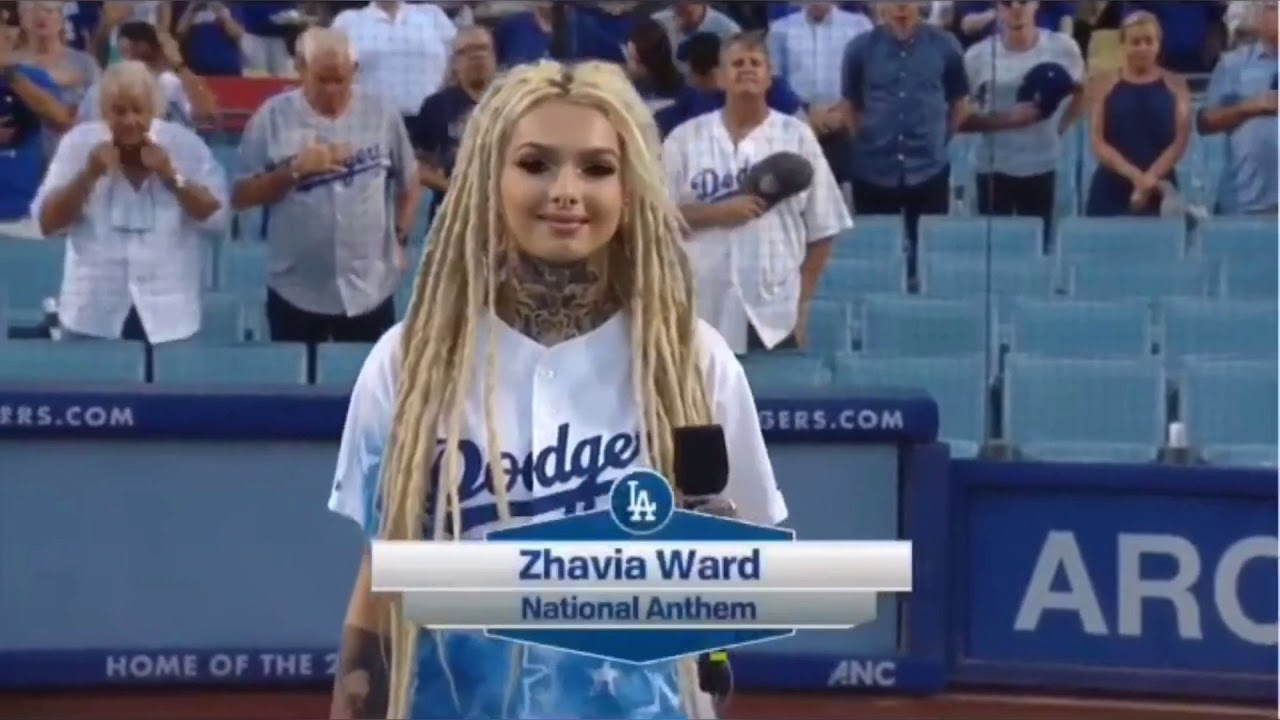 Zhavia Performs the National Anthem at the Dodgers vs Rockies Baseball Game