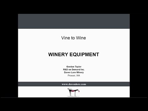 2016 V2W 17 Winery Equipment