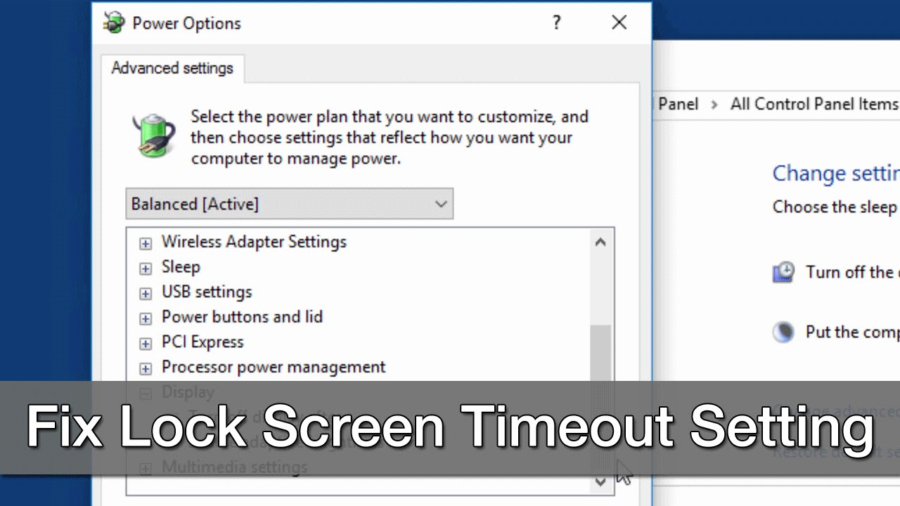 Change Windows 10 Lock Screen Timeout Setting within Power Options
