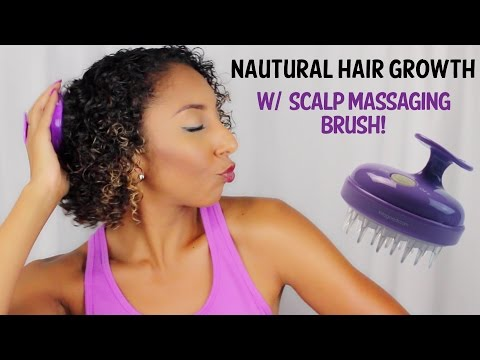 Natural Hair Growth w/Scalp Massaging Brush!| BiancaReneeToday