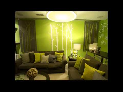 color ideas for living room with green couch - YouTube
