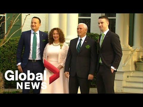 Mike Pence greets Irish PM Leo Varadkar and his partner
