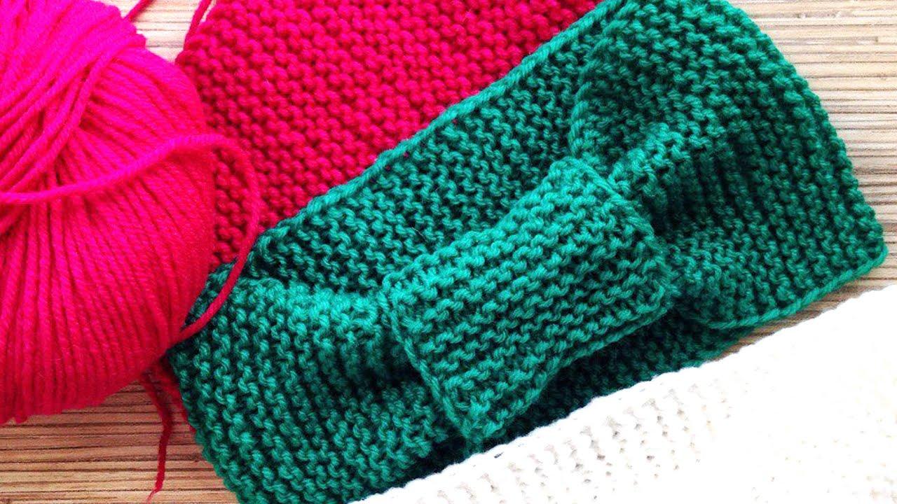 схема для вязания спицами повязки на голову