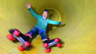 RIDING IN A TUBE ON ROLLERS !!