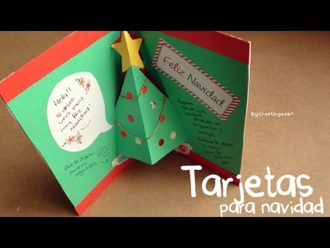Tarjetas para navidad 3 estilos pop up 3d y sencillo - Como hacer tarjetas de navidad faciles ...
