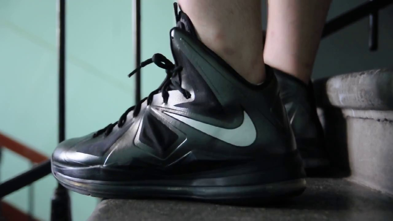 169201b1627d Nike LeBron X (10)   Carbon   Black Diamond   on feet womft - YouTube