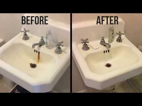how to remove rust stains from a porcelain sink youtube. Black Bedroom Furniture Sets. Home Design Ideas