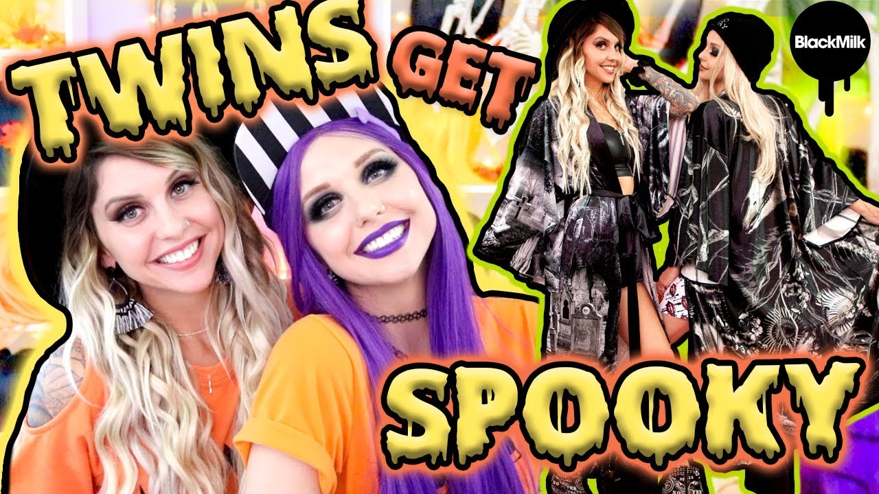 [VIDEO] - TRYING ON HALLOWEEN CLOTHES WITH MY TWIN!! | BlackMilk Neon Demons Collection ft. Poletti Twins 9